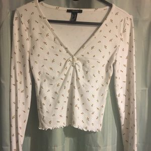 Forever 21 floral crop top long sleeve